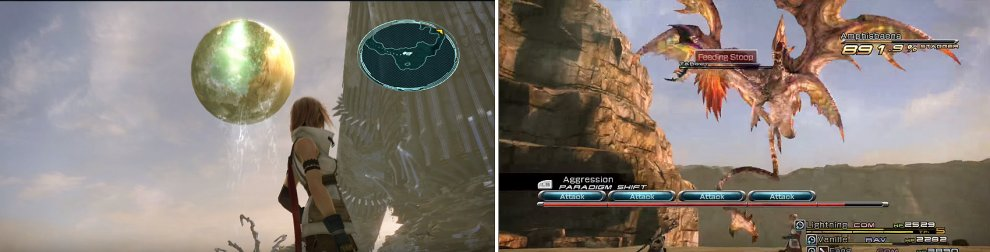 This is one of the best areas in the game to see Cocoon from Gran Pulse (left). Watch out for Feeding Stoop when fighting Amphisbaena (right).
