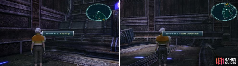 Clay Ring location (left) and 8x Tears of Remorse location (right).