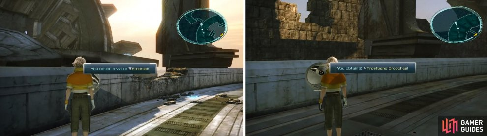 2x Frostbane Brooch location (left) and Ethersol location (right).