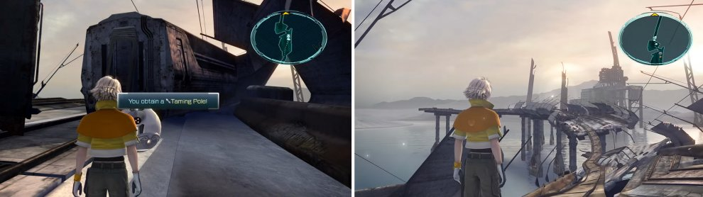 Taming Pole location (left) and the scenery around the Rust-eaten Bridge (right).