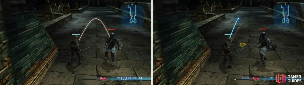 Red lines indicate that an enemy is targeting you (left), while a blue line shows that you are targeting a specific enemy (right).