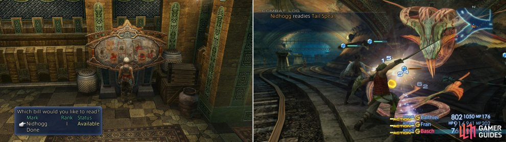 Pick up the Nidhogg hunt (left), then return to the Lhusu Mines to battle the dangerous snake (right).