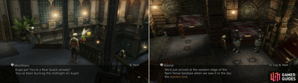 Report back to Montblanc after defeating Nidhogg to get official recognition as a Rear Guard (left) then pick up the Wyvern Lord hunt and talk to Sherral (right).