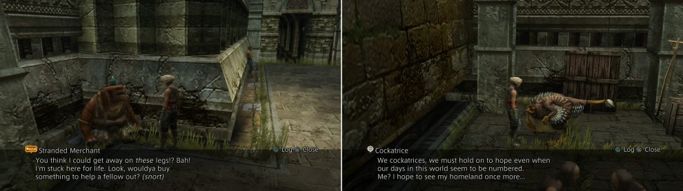 The Stranded Merchant in Old Archades doesn't sell much of interest, but he can give you access to the Bazaar (left). If you picked up the Feather of the Flock, you can talk to an old Cockatrice (right).