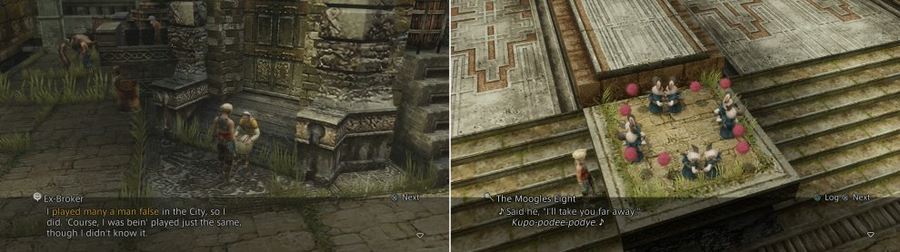 Various characters in Old Archades will reveal important information (left), which others, like these dancing Moogles, are apparent recipients of such information (right).