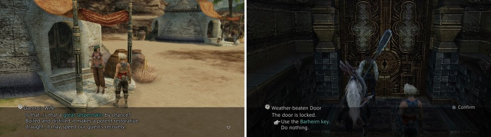 The Great Serpentskin from the Nidhogg hunt is used in the Patient sidequest (left). The Barheim Key from the sidequest will allow you to venture back inside the Barheim Passage (right).
