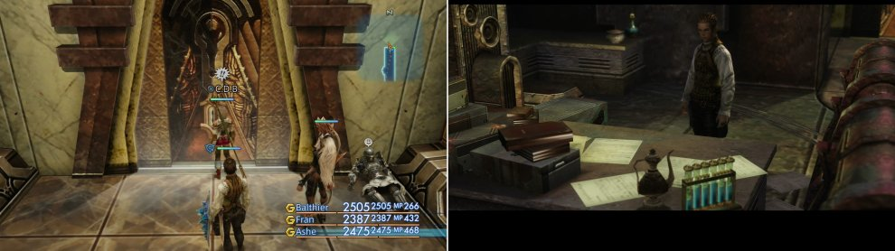 Locate the door to Doctor Cid's office (left) inside of which Balthier will find the Lab Access Card (right).
