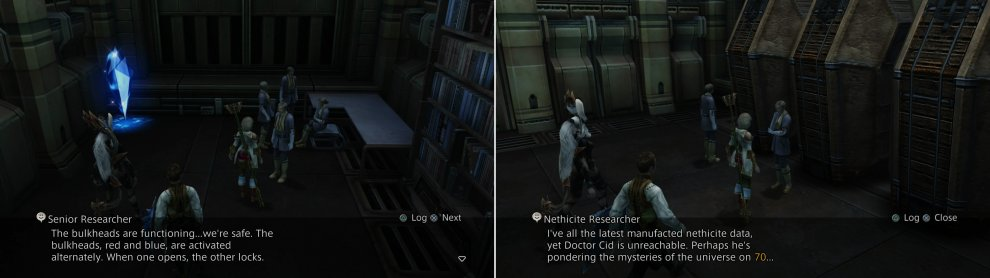 Talk to a Senior Researcher to learn how the bulkheads work (left), while another will unintentionally point you in the direction of Doctor Cid (right).