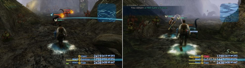The Cerberus has a chance to spawn in place of a Tartarus (left) and can drop the valuable Hell-Gate's Flame loot (right).