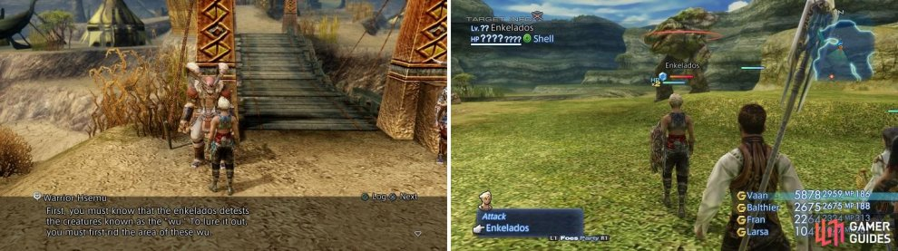 Hsemu will give you rundown on how to spawn Enkelados (left), where you will it in The Shred after clearing it of the Wu creatures (right).