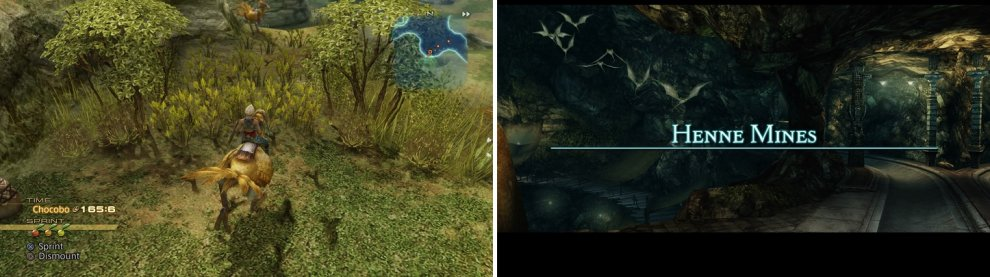 Look for the tracks while riding a Chocobo (left) to find the entrance to Henne Mines (right).
