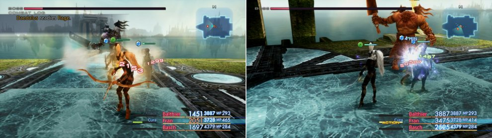 When low on HP Daedalus will start using more devastating attacks (left) and his combo rate will increase dramatically (right).
