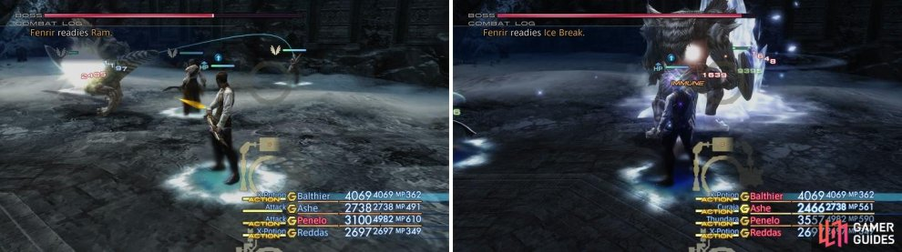 It can be expect that Fenrir hits hard physically (left), but he also has access to Ice Break for elemental damage (right).